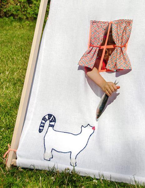 Stylisme photo enfants, tente et bottes Aigle pour enfants