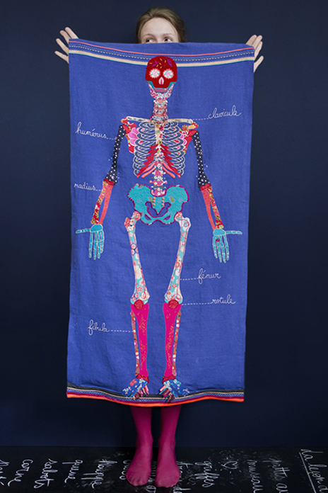 Couture-broderie, panneau mural textile squelette d'anatomie pour décorer une chambre d'enfant