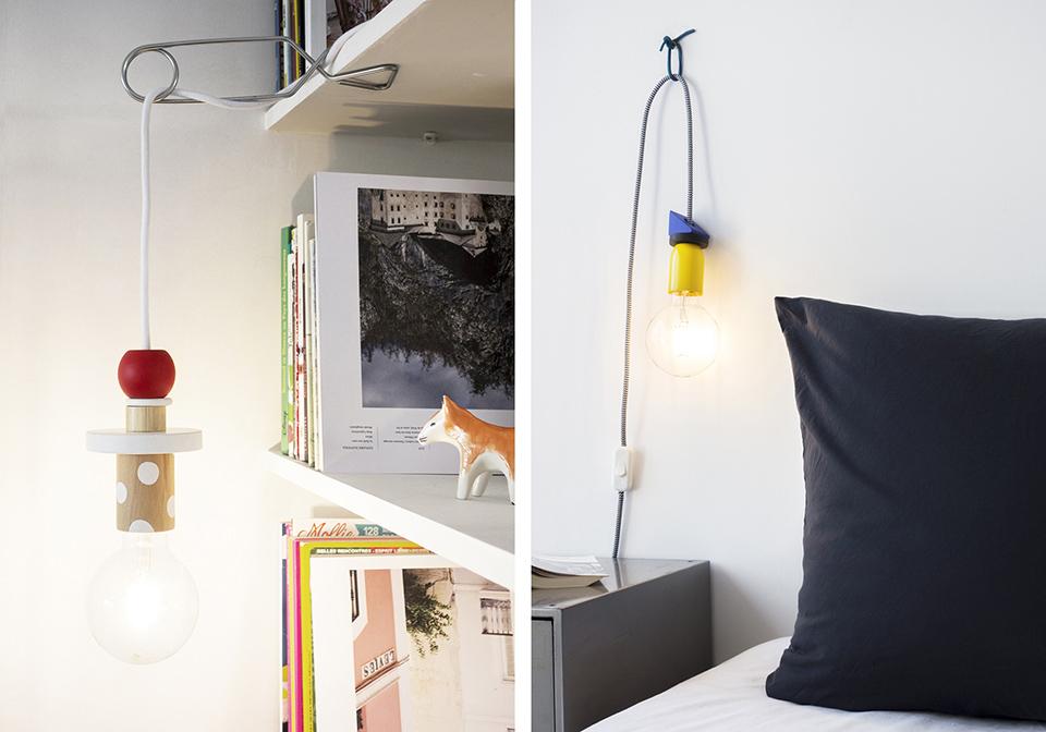 Design et fabrication de lampes tendance Memphis, fabrication avec des jouets en bois détournés par Les Trafiquantes